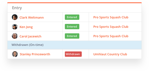 sportyHQ Let players modify or withdraw their entry